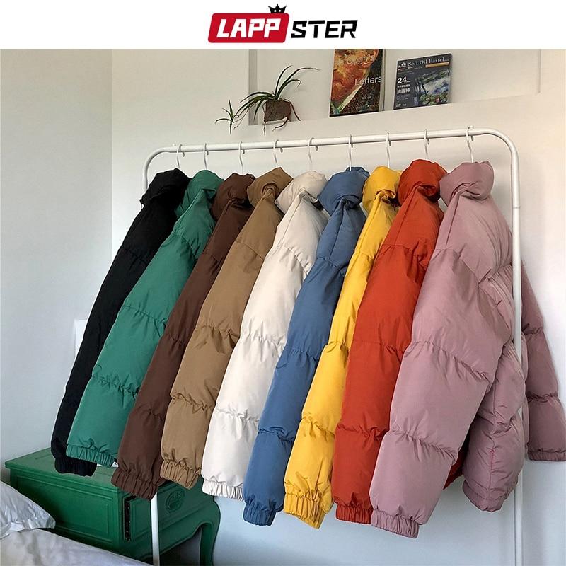 LAPPSTER-معطف رجالي, معطف بنمط هاراجوكو ملون جاكيت شتوي 2020 ملابس شارع هيب هوب سترة كورية سوداء ملابس منفوخة سترات