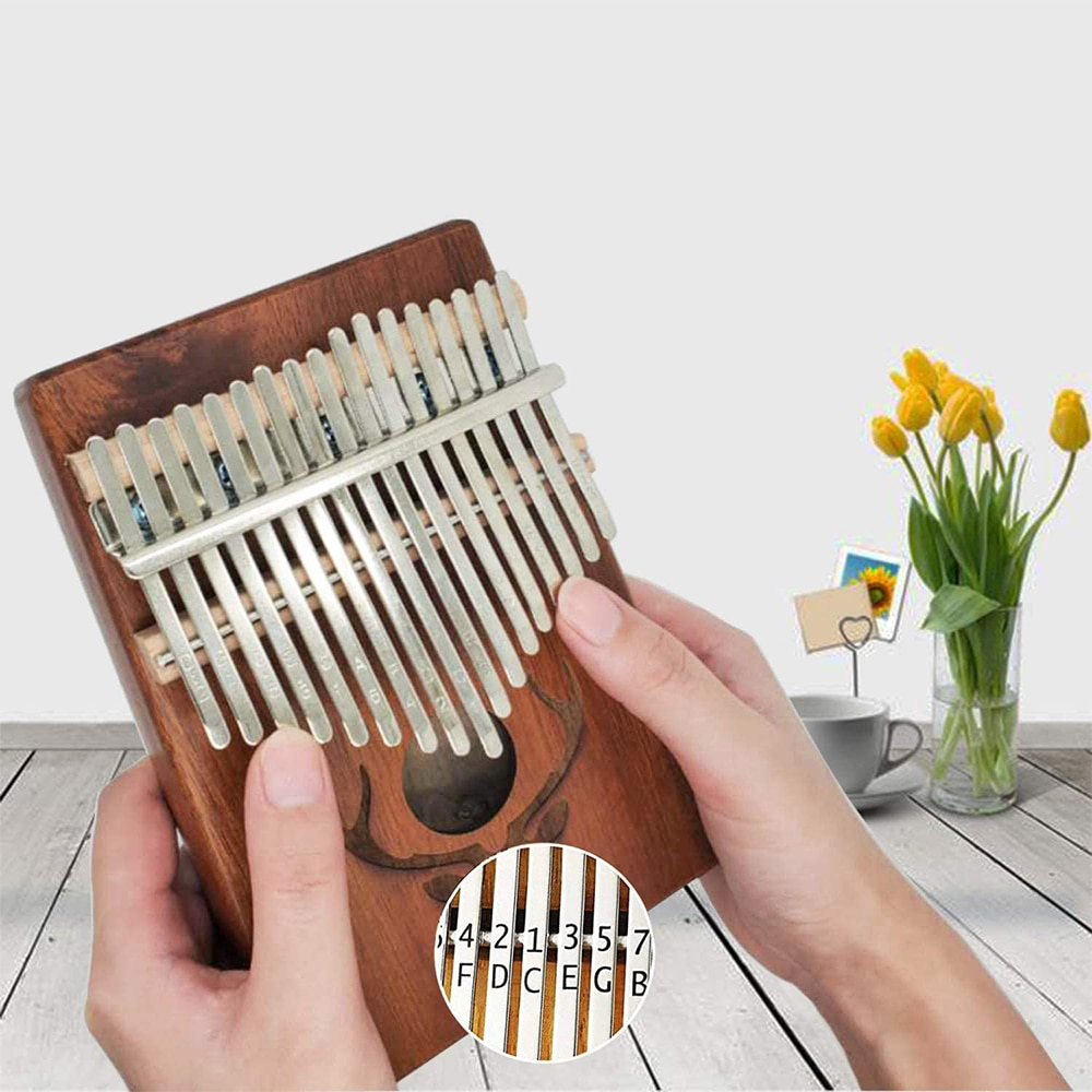17 Keys Bull Kalimba Thumb Piano Mahogany Body Musical Instrument With Non-Woven Cloth Bag And L Tuning Hammer Red Sticker enlarge
