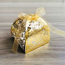 25 unids/set Rosa flor corte láser favores huecos REGALOS CAJAS de dulces con cinta Baby Shower boda fiesta suministros 449E