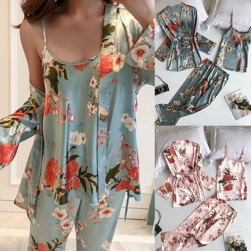 New Fashion Pajamas Set 3PCS Sexy Flower Print Sleepwear Women Summer Fresh Pajamas For Women Deep V