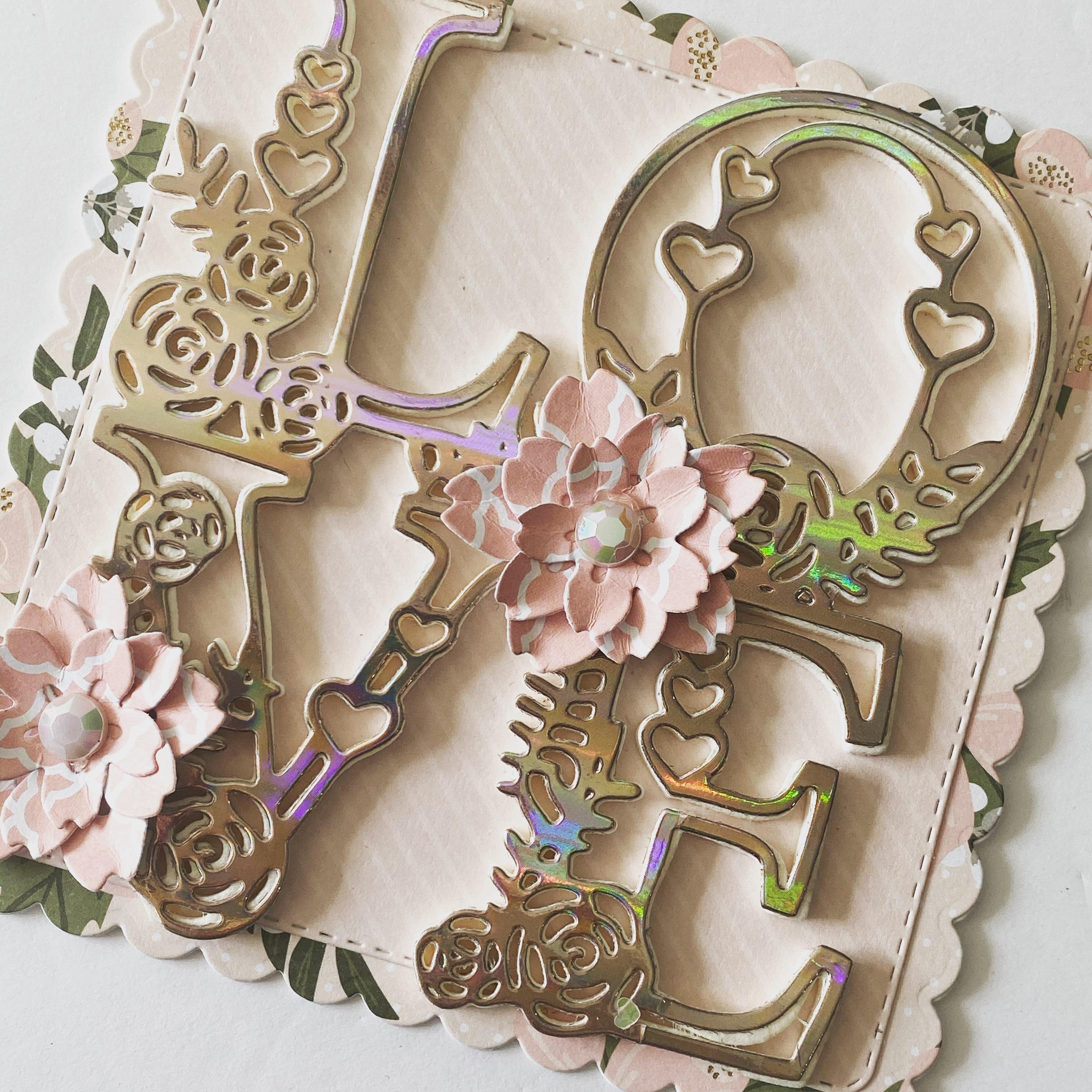 KSCRAFT Flourish Love Word металлические режущие трафареты для DIY скрапбукинга декоративные тиснения DIY бумажные карты
