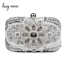 Silver Clutch Purse Glitter Women Beaded Clutch Evening Bags With Chains Handbag Wedding Party Bag Banquet pochette femme w611