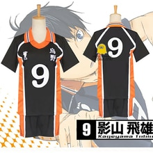 Haikyuu Kageyama Tobio maillot Karasuno haut No.9 déguisement de Cosplay uniforme de volley-ball lycée japonais Anime T-shirt + short