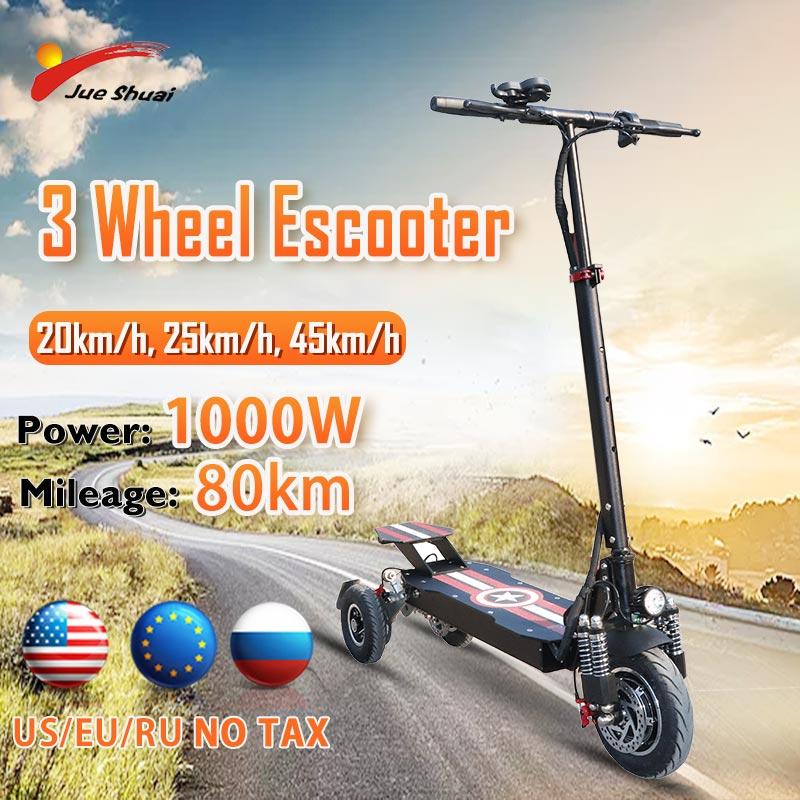 Patinete eléctrico de 3 ruedas para adultos, 1000W, Motor delantero de 10...