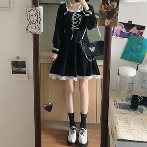 kawaii clothing sweet lolita dress  Women's Autumn Clothing 2020 New Korean Style Waist Trimming Slimming gothic lolita