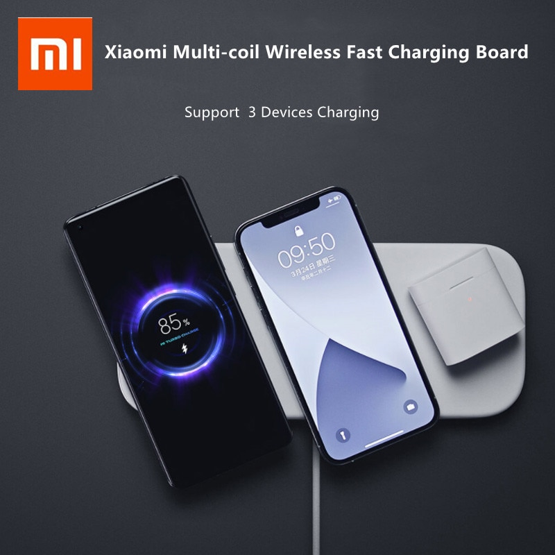Get Xiaomi Multi-coil Wireless Fast Charging Board 20W Max Wireless Charger Support 3 Devices Charging For iPhone Huawei Samsung