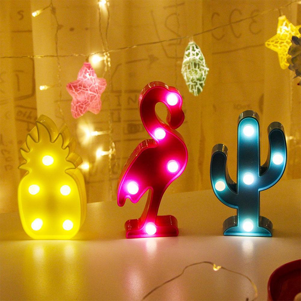 3D dessin animé ananas/flamant rose/Cactus modélisation veilleuse LED lampe mignon décoration cadeau