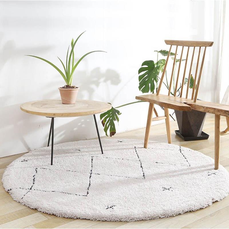 Morocco Style Geometric Kilim Round Carpet For Living Room Anti-Slip Soft Plush Nordic  Bedroom Rug Plaid Home Round Rugs