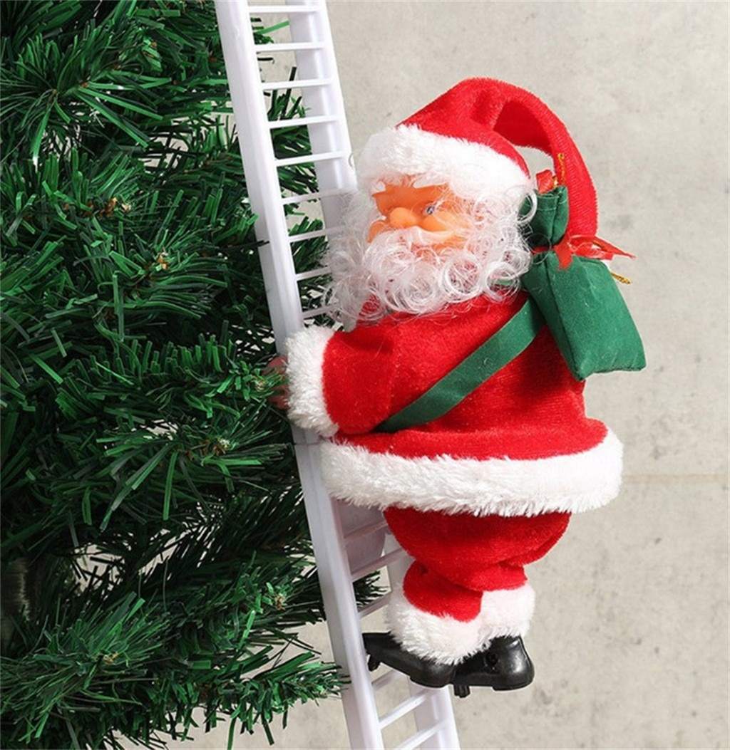 Electric Climbing Ladder Santa Claus Christmas Figurine Ornament Xmas Party DIY Crafts Festival Navidad 2020 Gift 10.17 недорого
