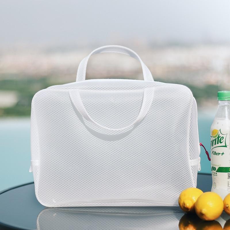 Nacai Travel minimalista Muji viento verano BEEKING blanco impermeable lavado cosméticos bolsa de almacenamiento tamaño grande 8233