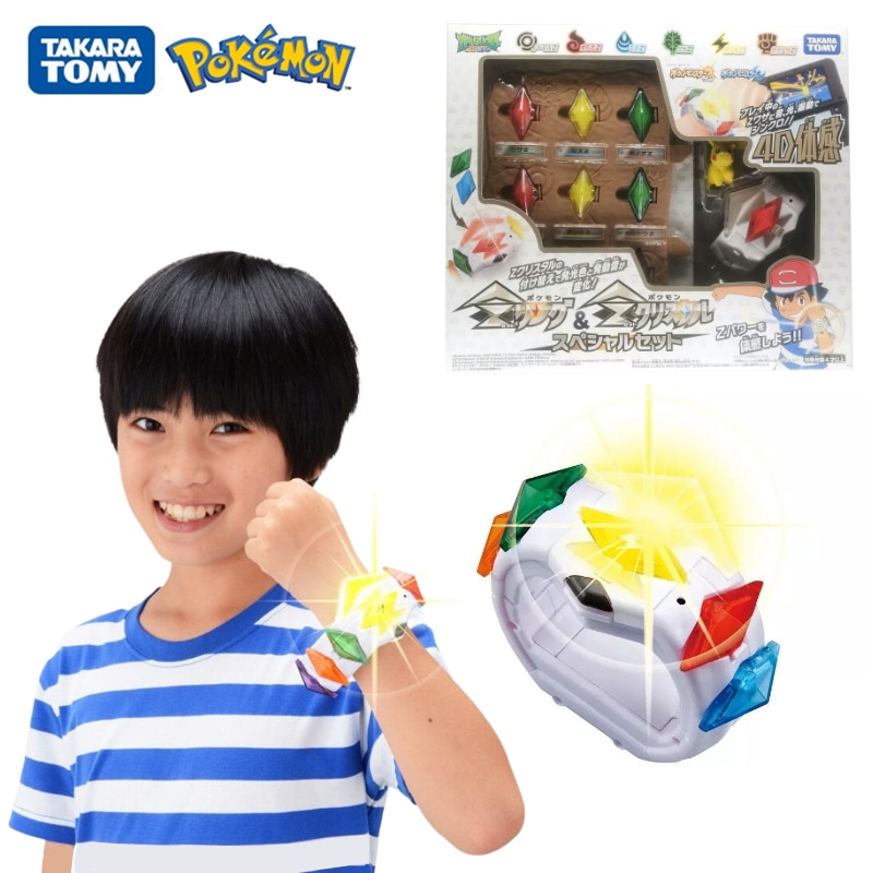 AliExpress - TOMY Pokemon Box Sun Moon Game Linkage 4D Somatosensory Z Bracelet Z Crystal Battle Pikachu Action Figure Model Toys Kids Gift