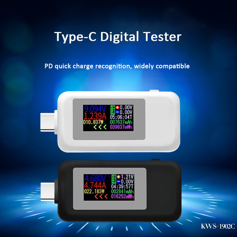 Probador USB tipo C, pantalla a Color 10 en 1, medidor de voltaje 4-30V, temporizador, amperímetro, Monitor Digital, indicador de apagado, cargador