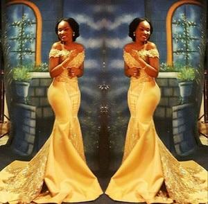 Elegant Yellow African Mermaid Prom Dresses Long 2020 Formal Off Shoulder Beading Crystal Satin Arabic Trumpet Evening Gown