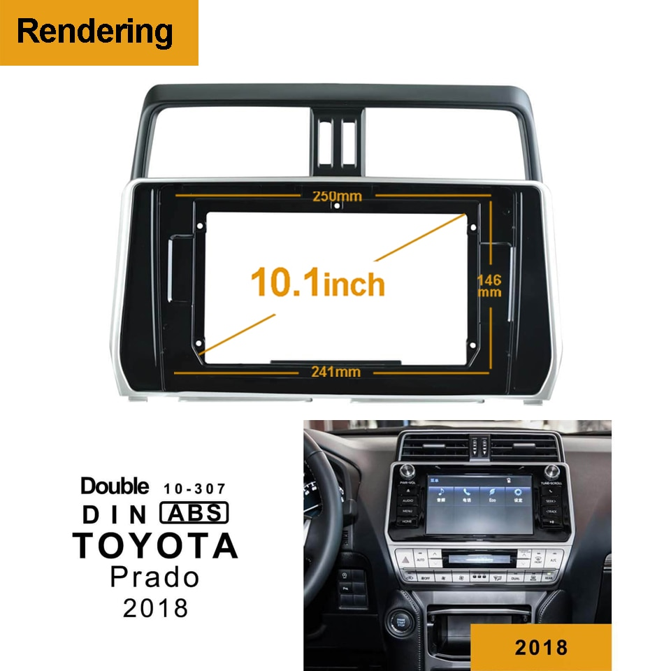 1Din 2Din DVD del coche de adaptador de conexión de Audio Dash Trim Kits de Facia Panel 10,1 inch para Toyota PRADO 2018 doble Din reproductor de Radio