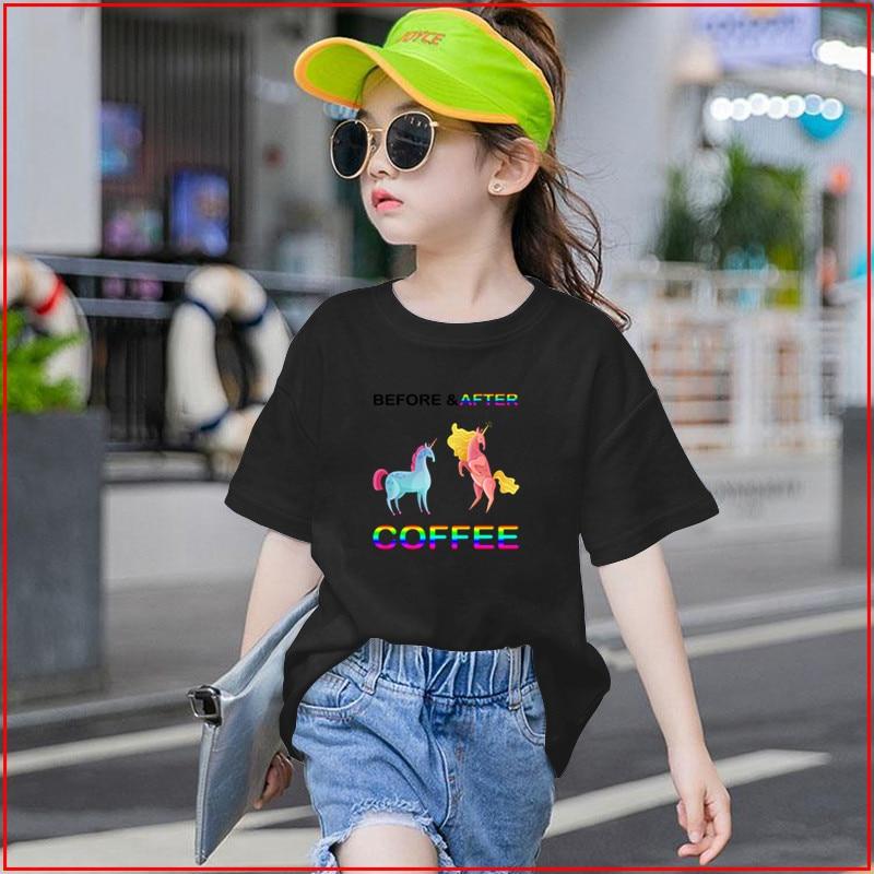 Antes de Café niños camiseta Software Skateboarding manga corta niños ropa Niñas Ropa de Moda Ropa
