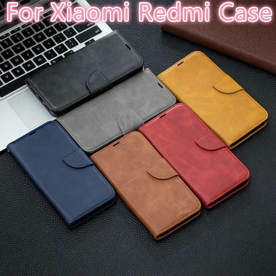 Sheepskin Leather Case for Xiaomi Redmi K20 Pro Note 7 6 5 4 Pro 7A 6A 5A 4X Pocophone F1 A2 lite Flip Wallet Case