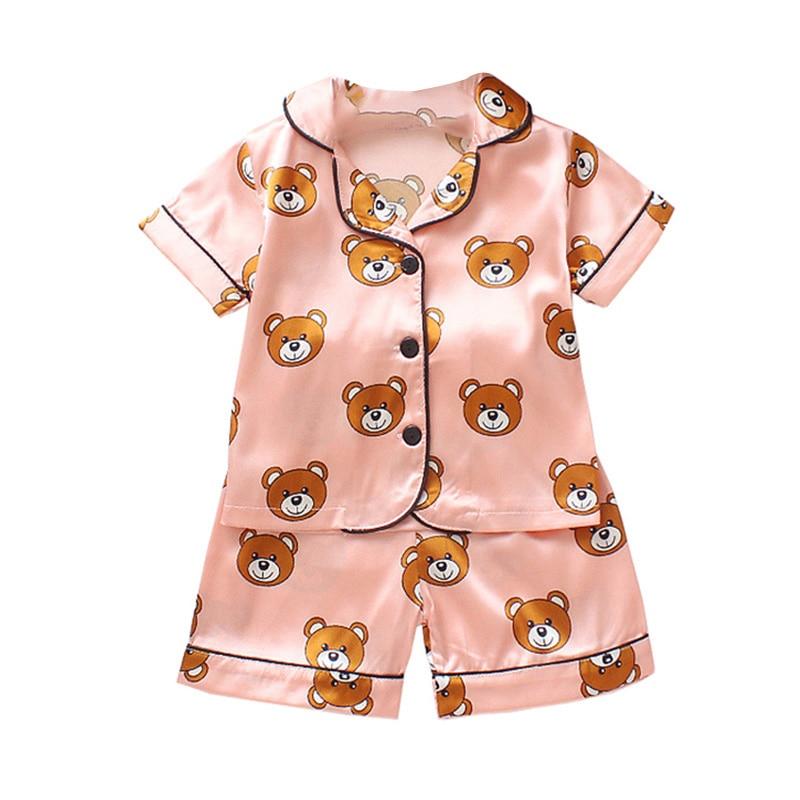 Kids Pajamas Set Silk Women Men Pajamas Boys Girls Bear Print Pyjamas Short Sleeve Blouse Tops+Shorts underwear & sleepwears