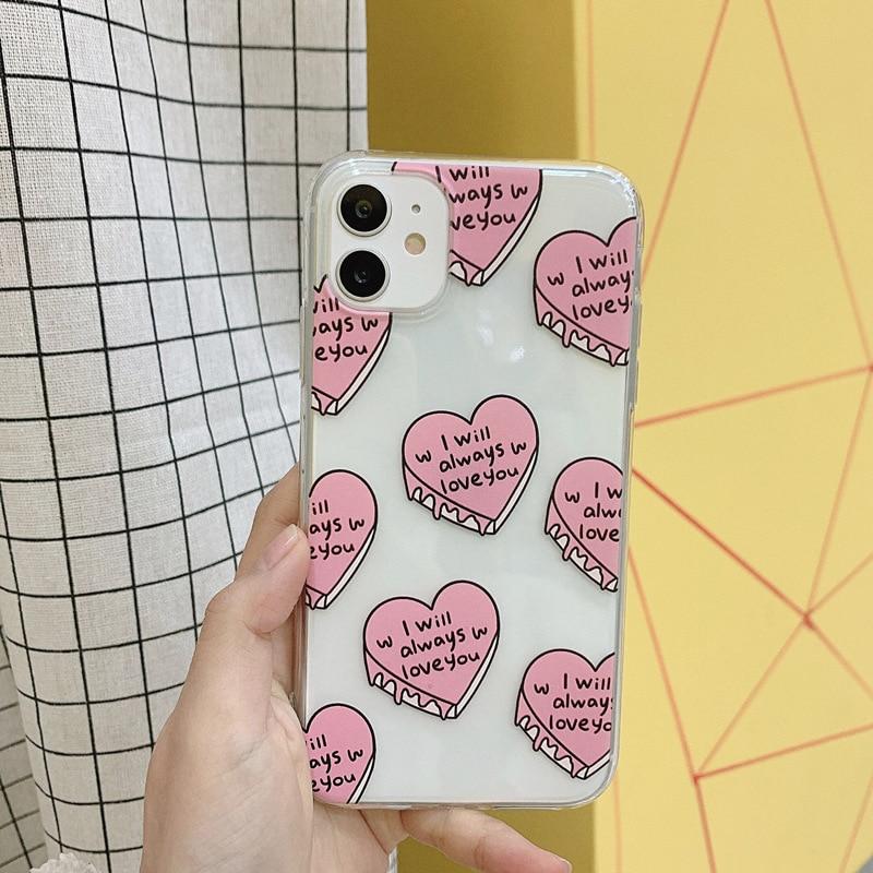 Capa de amor rosa clara para iphone 11 pro max 11 pro 11 all-inclusive drop-resistente capa macia transparente