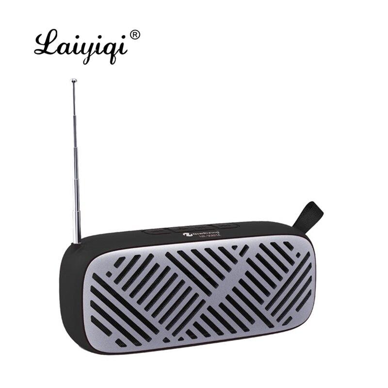 Laiyiqi-altavoz bluetooth con antena, radio FM, portátil, correa de cuero, USB, llamada...