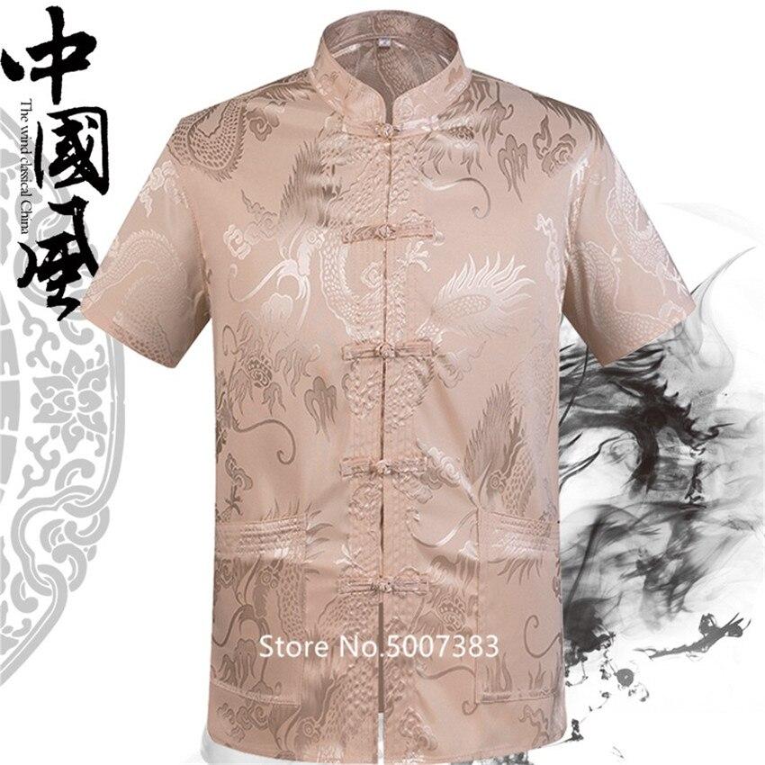 Verano 2020 satén Madarin Collar Vintage Tang traje tradicional chino ropa para hombres Dragon Silk camisas de kungfú Hanfu blusa