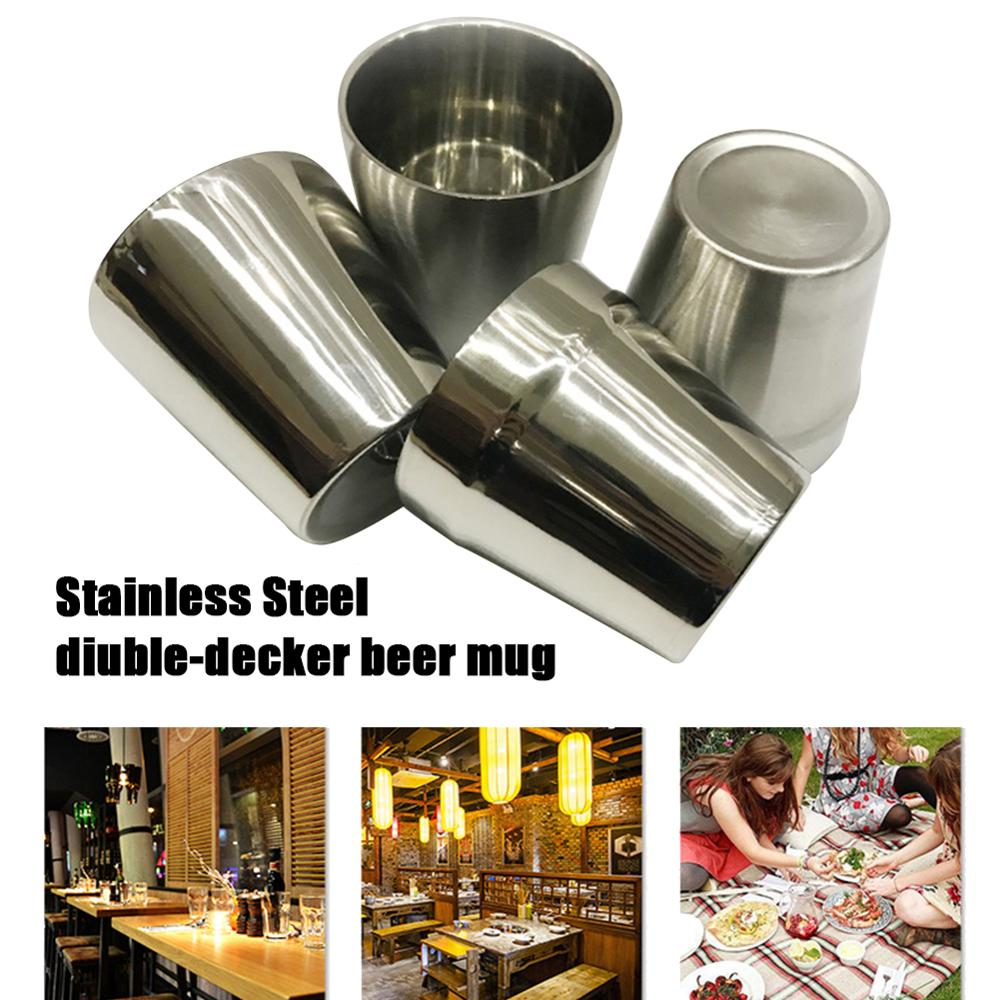 1pcs 6.4oz Stainless Steel Wine Glasses Portable Beer Double-Layer Pint Cup Impact-Resistant Metal Durable Cups