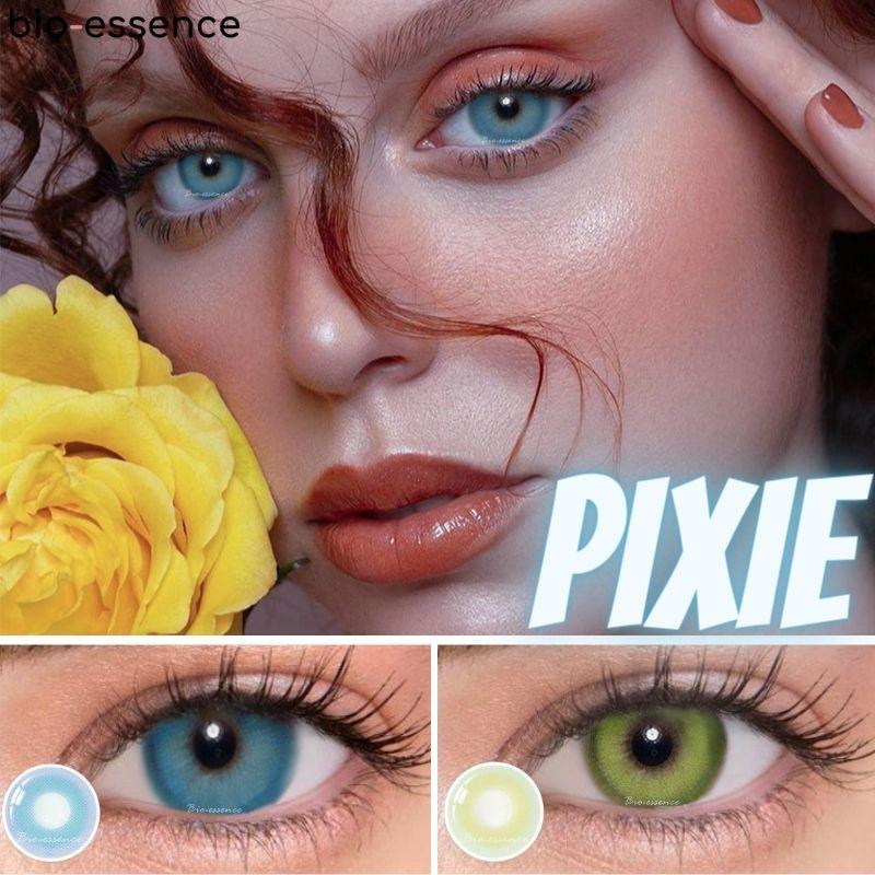 Receta 2 unids/par lentes de contacto de color miopía verde Pixie serie...