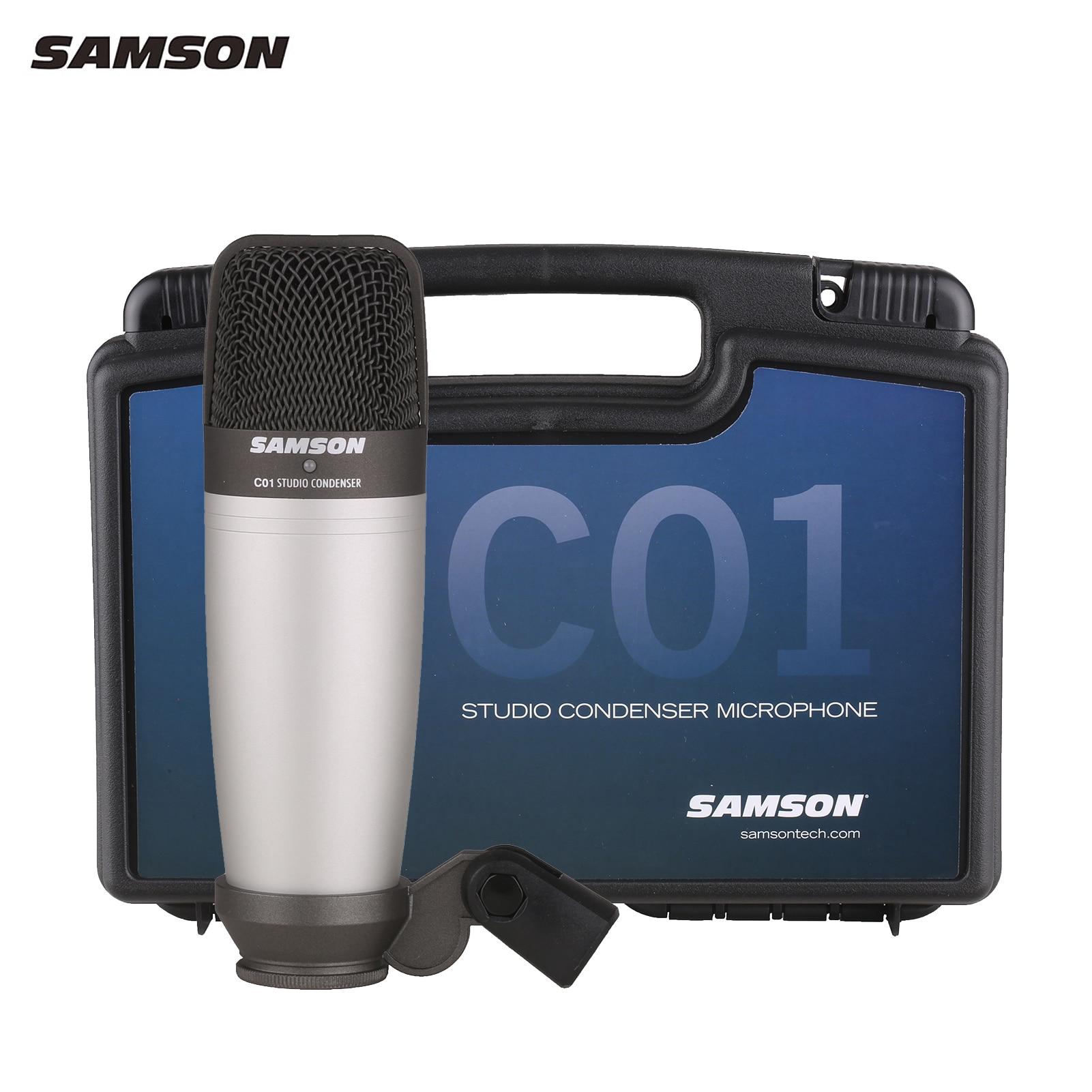ميكروفون أصلي من SAMSON C01 ذو غشاء قلبي كبير مكثف XLR ميكروفون احترافي ستوديو مع علبة حمل بلاستيكية