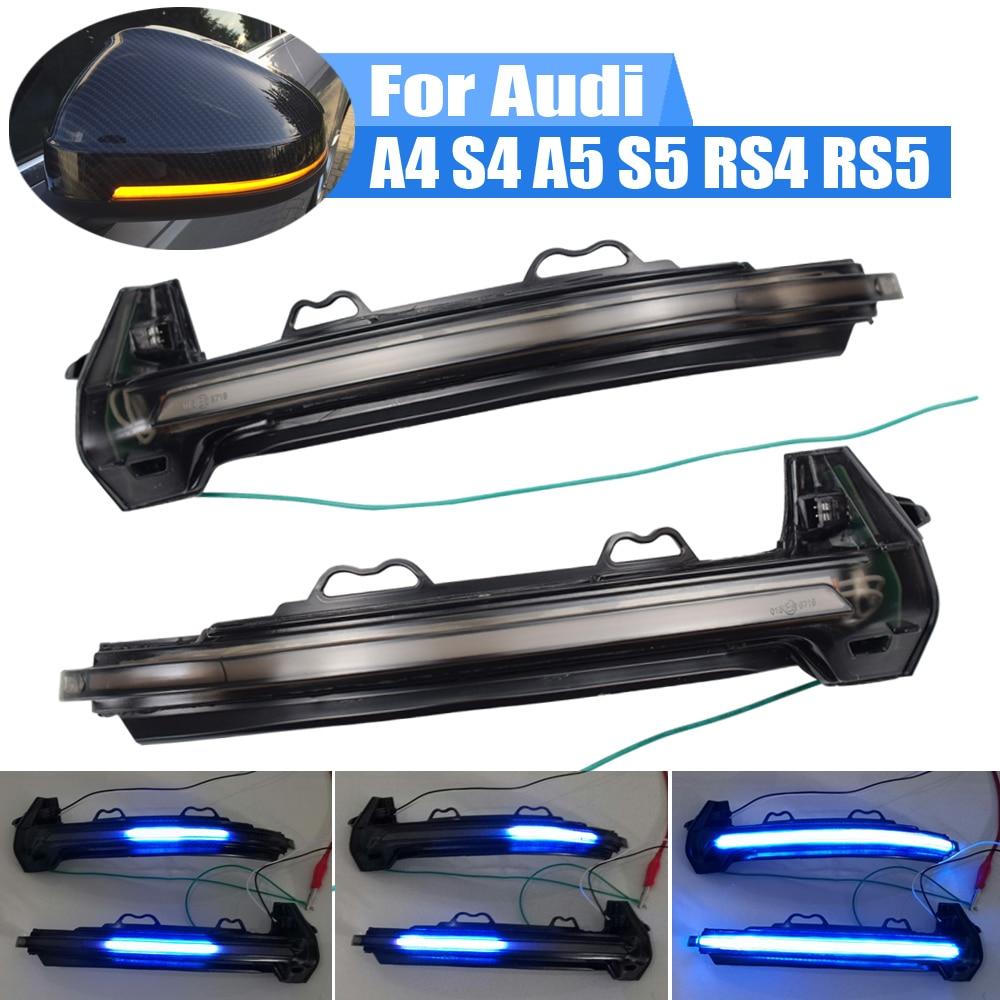 Intermitente de agua corriente, luz LED de señal de giro dinámico para Audi A4 S4 B9 A5 S5 RS4 RS5, indicador intermitente de espejo lateral