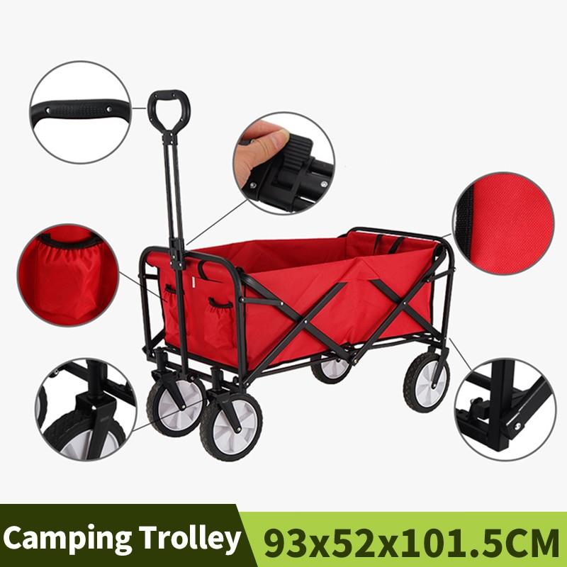 Chariot utilitaire Portable avec panier de rangement, chariot de Camping, chariot de Camping, chariot d\'extérieur à 4 roues, chariot de plage