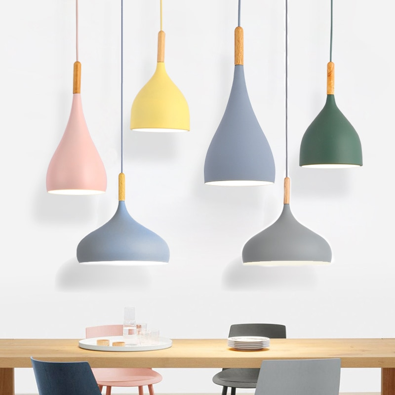 luminaria led pendente multicolorida luminaria suspensa para restaurante madeira