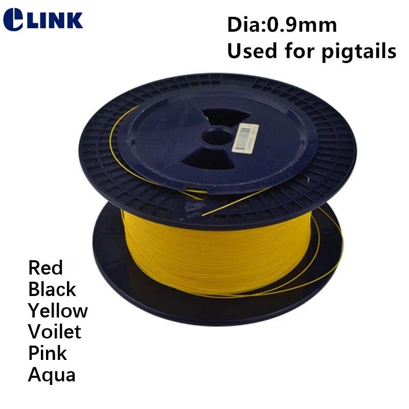 1000mtr 0.9 مللي متر تشديد الألياف كابل بصري G652D أحادي اللون كابل أحمر أسود أصفر voilet الوردي أكوا سلك 1 كجم/لفة ELINK