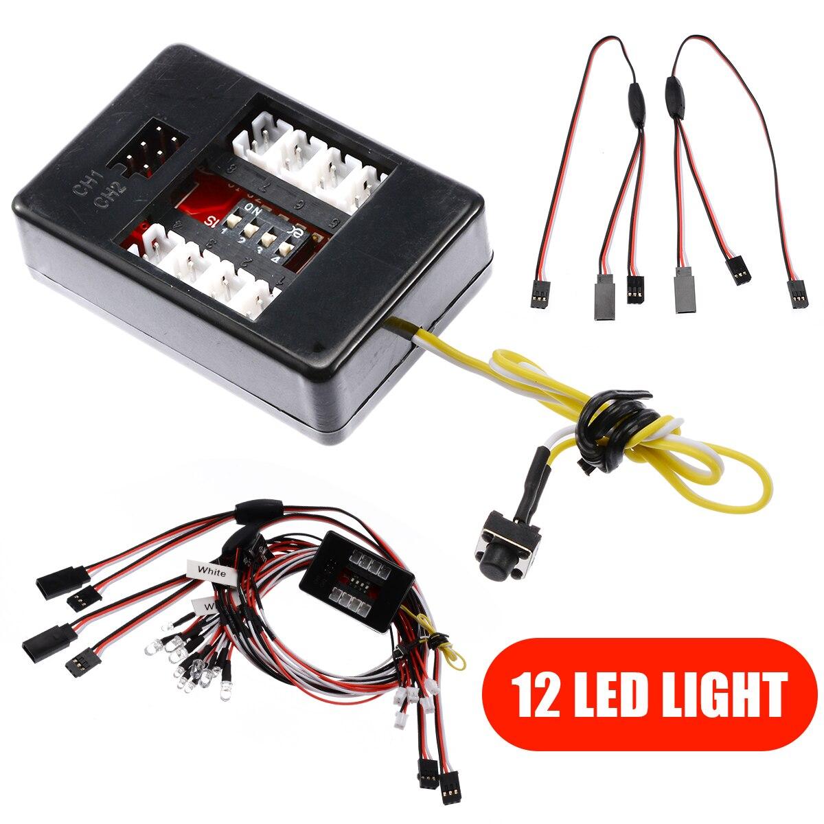12pcs LED White Light Lighting Kit Simulation Flash Lights RC Car Headlight Taillight For 1/10 RC Car Truck Replace Part enlarge