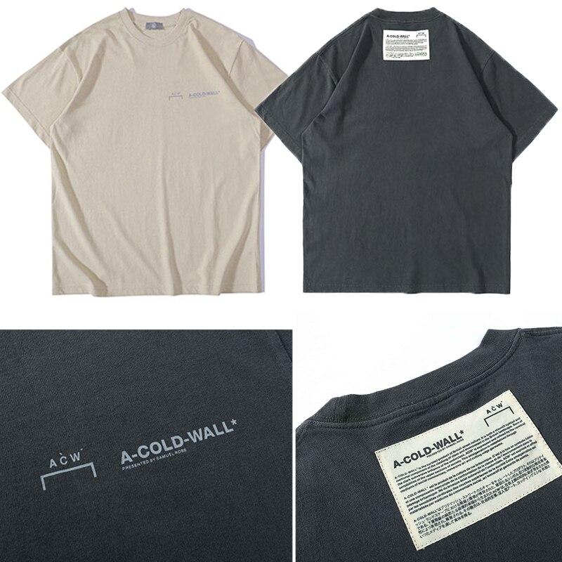 Novo A-COLD-WALL t camisa masculina de alta rua casual solta acw t-shirts grande remendo tag damasco preto A-COLD-WALL camisetas superiores