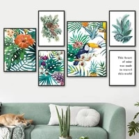 toucan palm monstera morning glory quote wall art canvas painting nordic poster and prints wall pictures for living room decor
