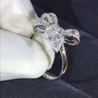 new bow ladder square diamond ring luxury simulation diamond ring elegant womens wedding ring