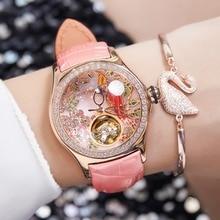 2020 récif tigre/RT femmes luxe mode montres diamant automatique Tourbillon bracelet en cuir montre horloge Relogio Feminino RGA7105