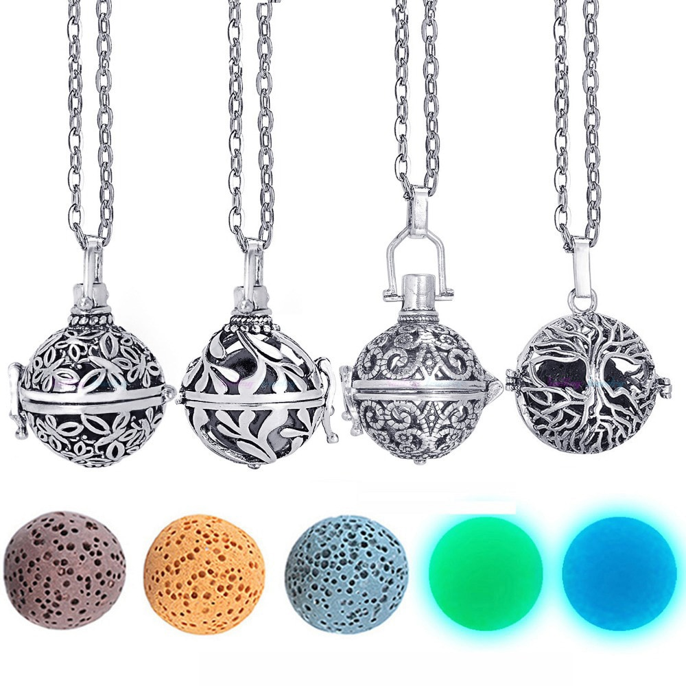 Dropshipping Felt Ball Lava Stone Aromatherapy Antique Vintage Glow Diffuser Necklace Locket for Perfume Essential Oil