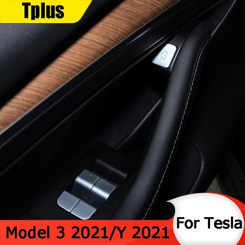 Tplus наклейка на автомобильную кнопку против царапин защитная пленка для Tesla Model 3 2021/модель Y 2021 переключатель оконного подъемника ABS аксессуа...