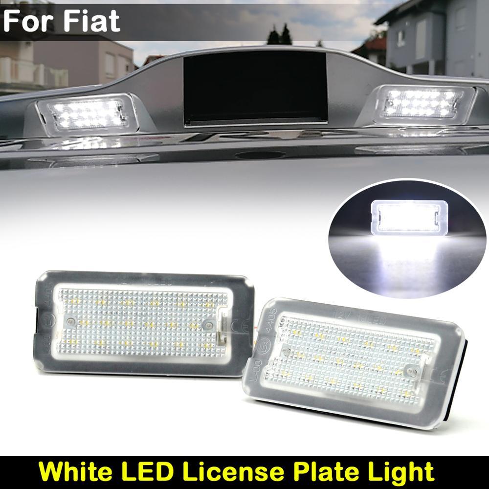 Lámpara blanca de alto brillo para matrícula, 2 uds., para Fiat 500...