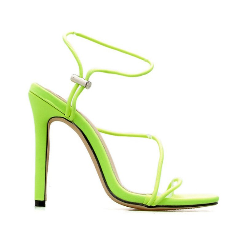 2019 recién llegado verano talón fluorescente neón ROSA MELOCOTÓN rojo intercambiable con correa Sandalias Zapatos de tacón alto de mujer