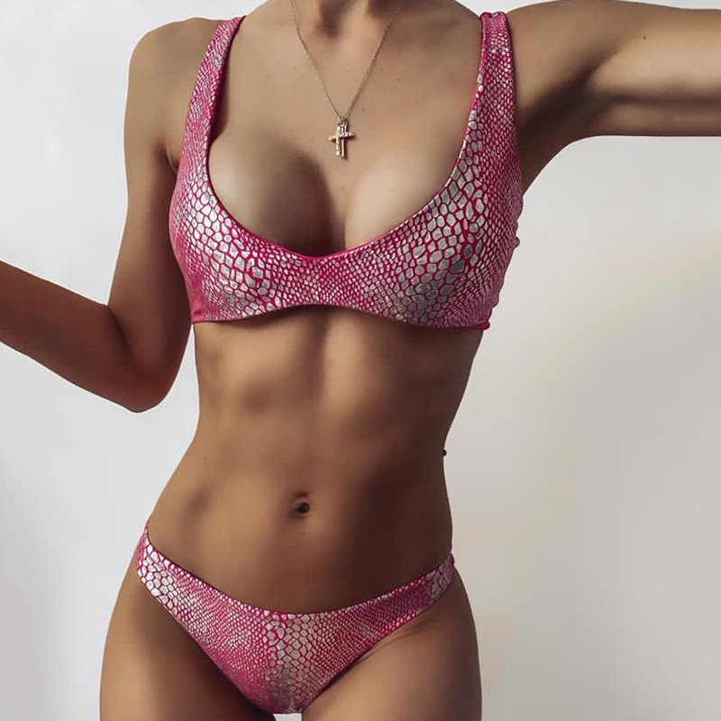 Sexy Bikinis Push Up Two-Piece Suits Women Swimsuits Snake Printing Bathing Suits Thong Biquini Beachwear 2021 Pink Swim Suit
