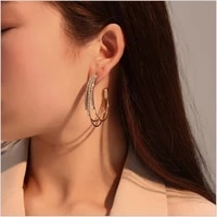 exaggerate multilayer crystal drop earrings for women c shape circle statement female hoop earring fashion korean party jewelry