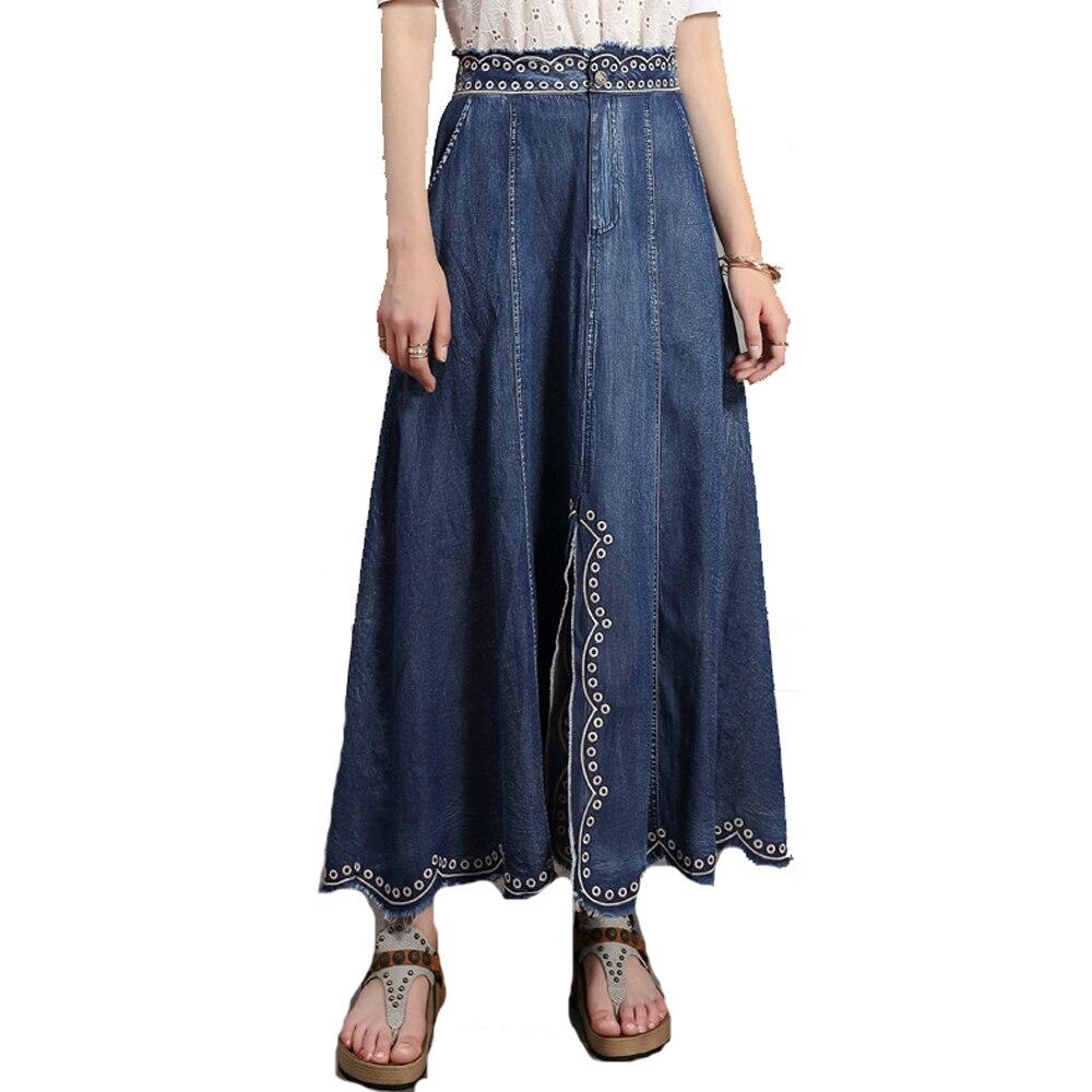 Las mujeres todo a juego bordado cremallera de regazo de la fractura falda de talla grande bolsillo diseñado diseño de onda vuelta falda de Jeans azul FS1002