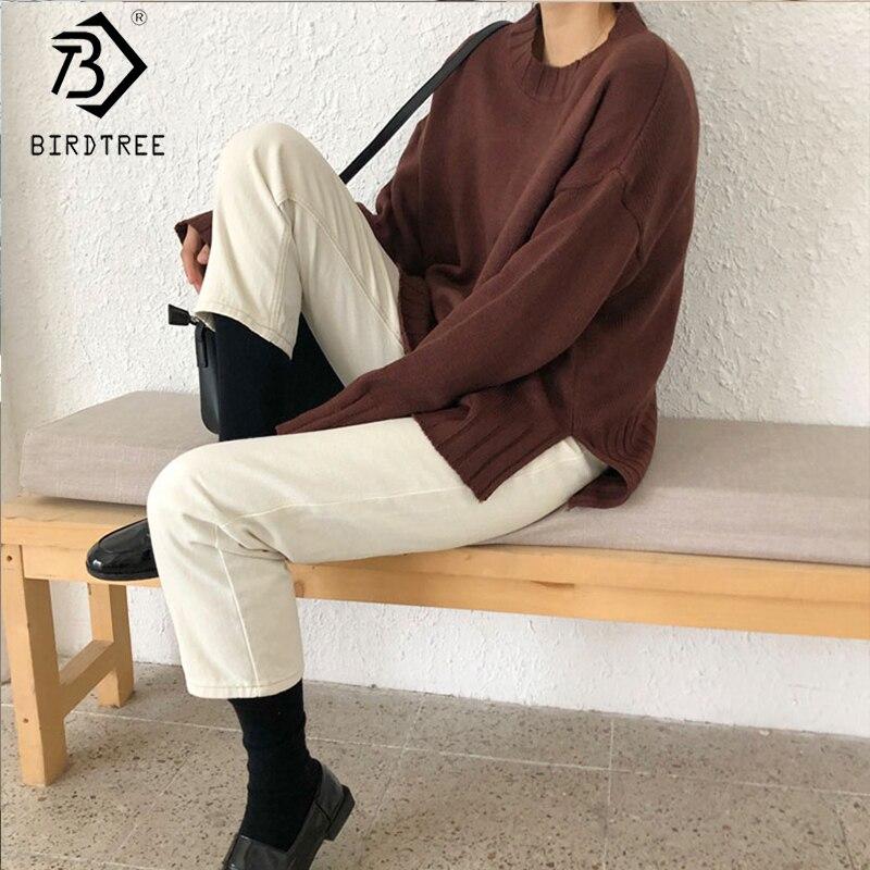 2019 otoño nuevo jersey de mujer cuello redondo sólido suelto manga completa coreano moda Simple estilo Casual gran oferta T97213D