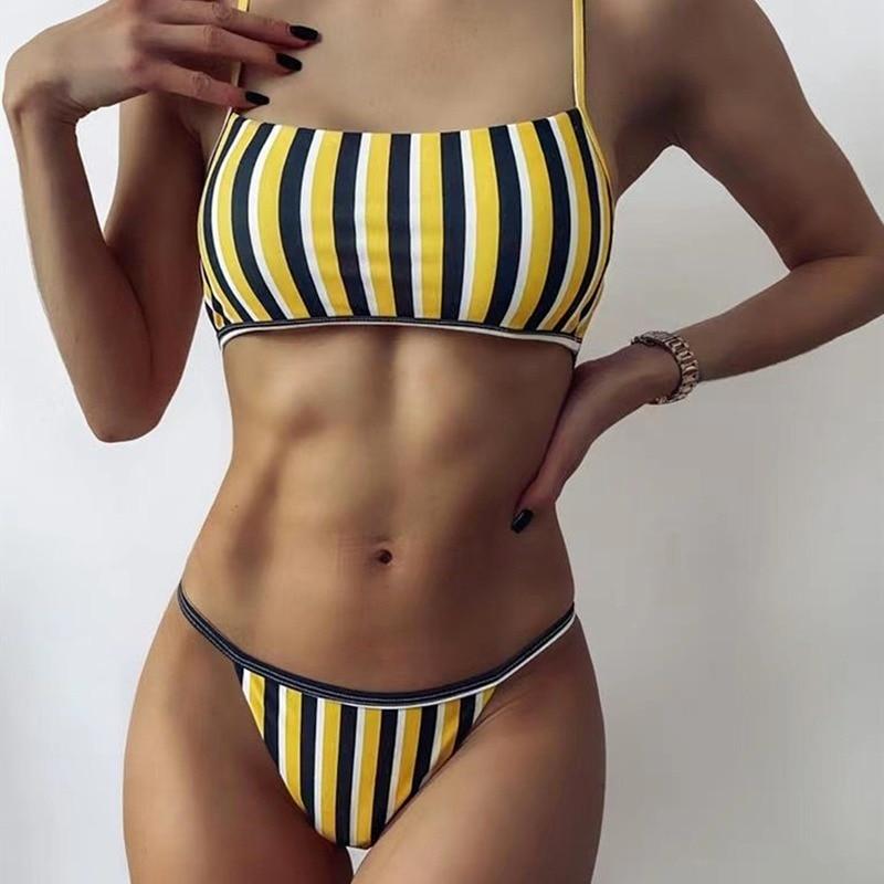 Sexy Stripe Print Swimsuit Women Tube Top Bathing Suit High Cut Bikini Set Backless Beachwear 2021 Summer Brazilian Swimwear