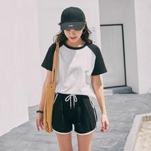 Women Short Sleeve T Shirt Sports Couple Tees Harajuku Students Plus Size Graphic Striped T-shirt 2020 Poleras Mujer Tshirts Top