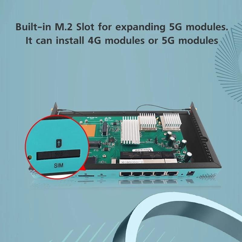 5G Gigabit Port Wifi Hotspot Modem Router WG1608 Met M.2 Connector For Computer Network Monitoring enlarge
