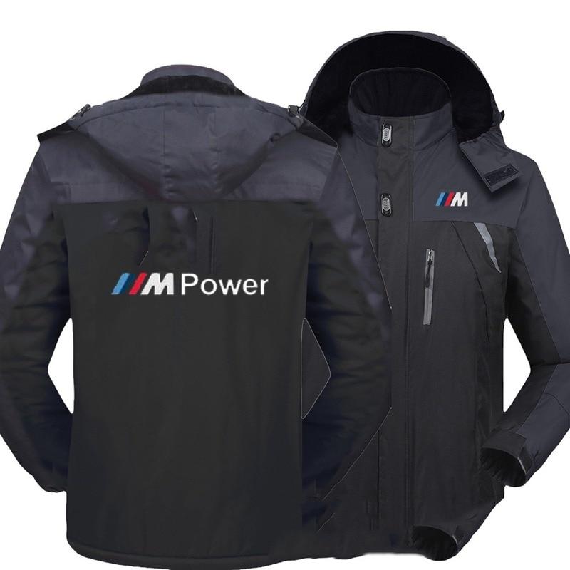 NEW Men BMW Windbreak Plus Velvet Thick Warm Windproof Fur Coats Male Military Hooded Anorak Jackets Men's Overcoat Windproof