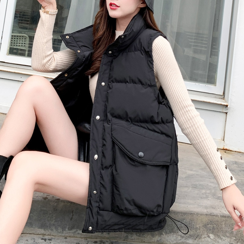 #0736Black Beige Winter Vest Waistcoat Women Big Pockets Stand Collar Casual Vest Coat Female Korean Style Loose Bodywarmer Vest winter new style ladies stand up collar lightweight down vest casual style down vest women s big pocket fashion solid color vest
