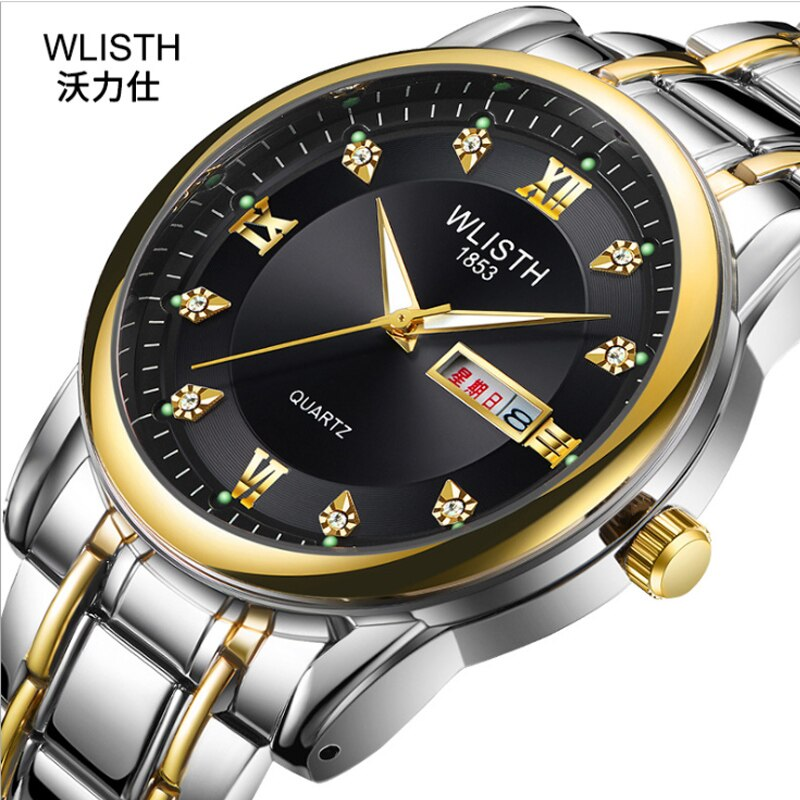Business Men's Watch Waterproof Double Calendar Iuminous Steel Band Student Multifunctional Non Mechanical Quartz Watch